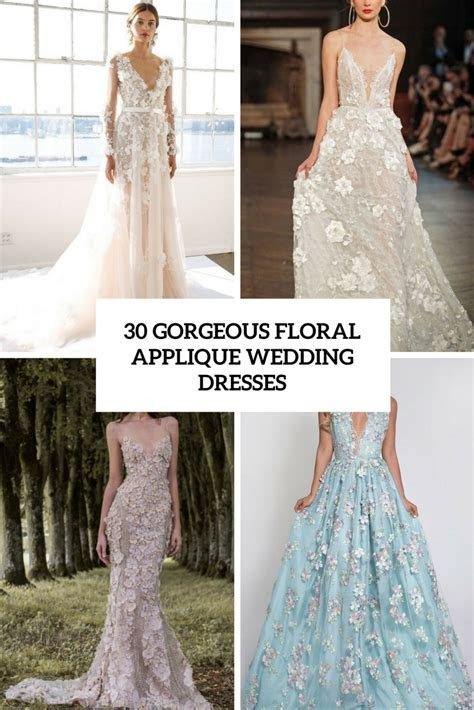 30 Gorgeous Floral Applique Wedding Dresses   Weddingomania