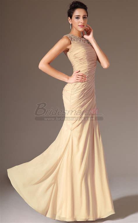 jewel neck chiffon champagne long mermaid bridesmaid dress