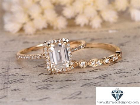6x8mm Emerald Cut Moissanite Engagement Ring Set Matching