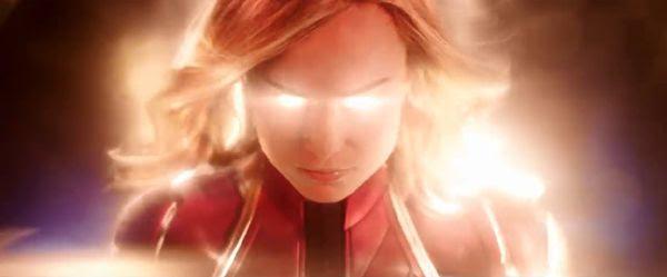 Carol Danvers powers up in CAPTAIN MARVEL.