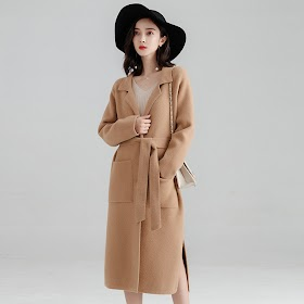 Office Lady Loose Womens Long Coats Outwear Winter Single Breasted Wool Blend Coat And Jacket Turn-