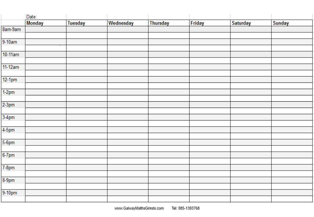 Daily Timetable Format Calendar June