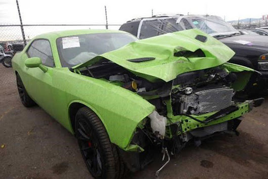 First Wrecked 2015 Dodge Challenger SRT Hellcat Going Up For Auction
