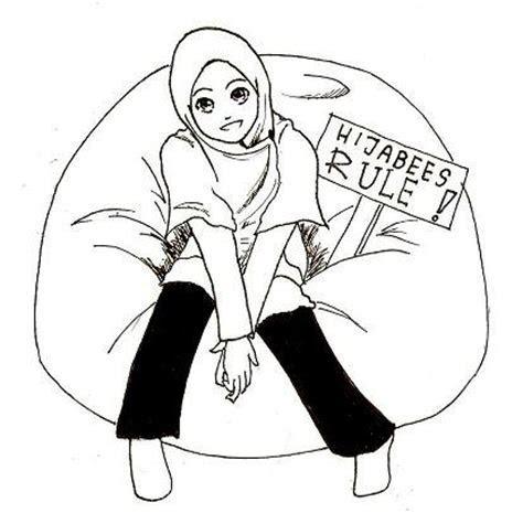 Sketsa Gambar Kartun Muslimah Hitam Putih Ideas Pict For You
