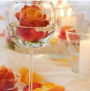 Floral Wine Glass Wedding Centerpieces