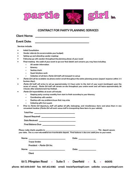 party planner contract template   Google Search   events