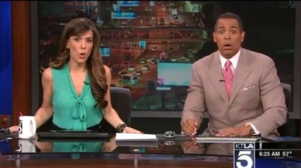 Jornalistas se assustam com terremoto, que aconteceu quando estavam ao vivo em jornal matinal (Foto: Reprodução/YouTube/KTLA)