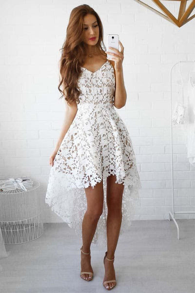 A-Line High Low Straps Simple White Lace Homecoming/Party Dresses TZ0132