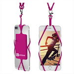 Gear Beast - Cell Phone Lanyard Holder with Card Holder - Hot Pink