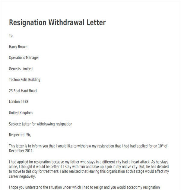 25 Best Format For Resignation Withdrawal Letter