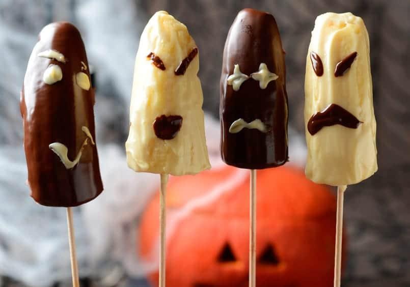 Plátanos fantasmas para Halloween