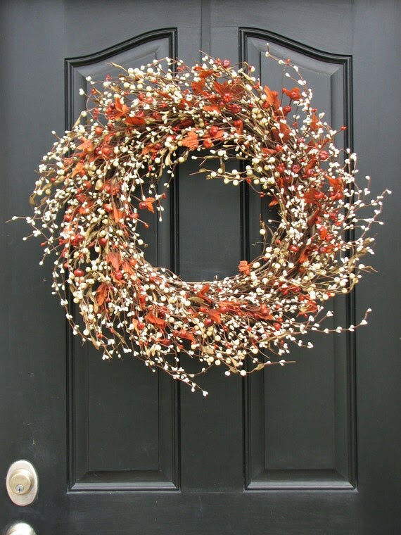 Autumn Wreath - Pumpkins and Cream  Berry Wreath with Leaves for Fall Decor