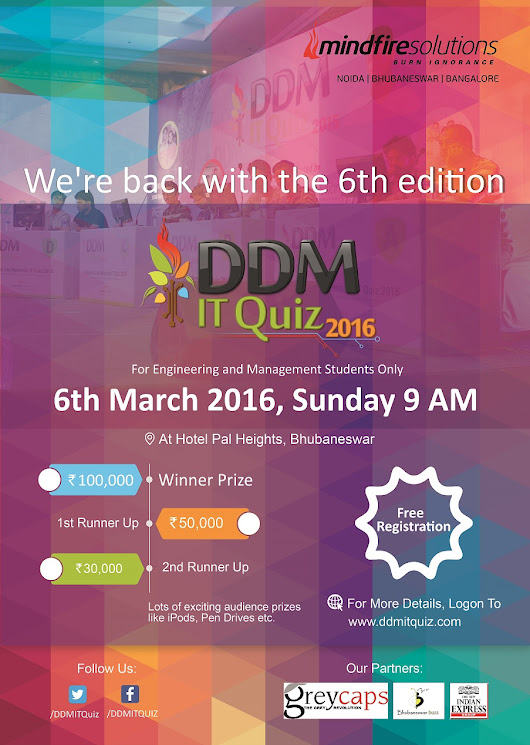 Mindfire Solutions is back with its 6th edition of the DDM IT QUIZ - Bhubaneswar Buzz
