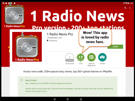 4.8! 4.8! 4.8! 1 Radio News Pro is now the top rated radio app on Google Play - 1 Radio News