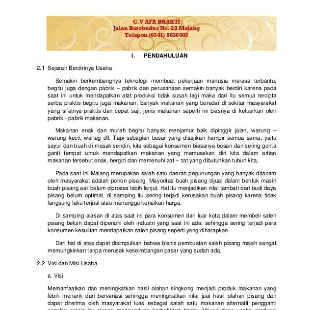 Contoh Proposal Bisnis Plan Makanan Kata Kata