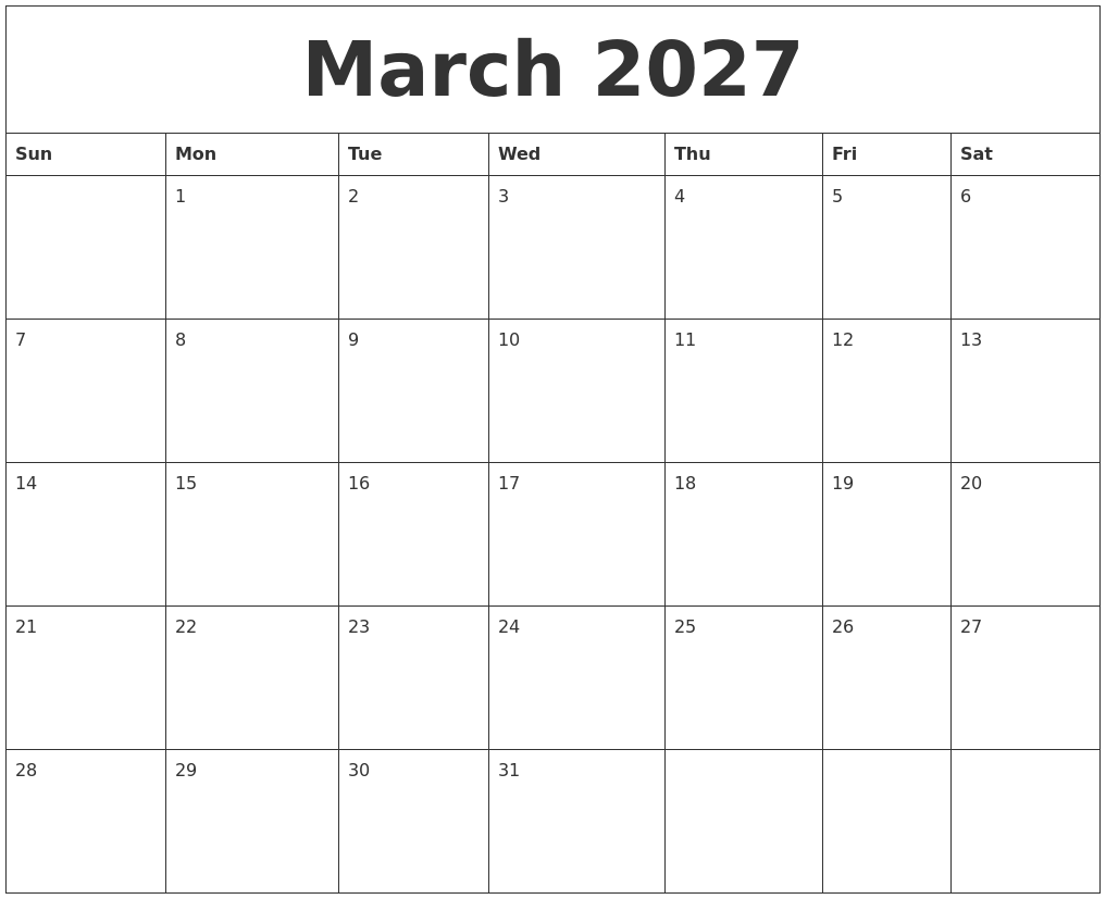 march 2027 printable calendars free