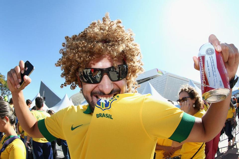 A Brazil fan before the opening ceremony before the Group A match between Brazil and Croatia at Arena de Sao Paulo on June 12.