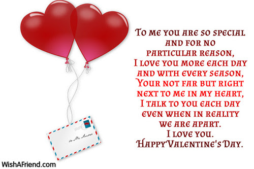 To Me You Are So Special Valentines Day Message