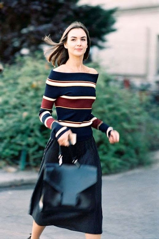 Le Fashion Blog Summer Street Style Striped Off The Shoulder Top Pinstriped Midi Skirt Leather Satchel Via Vanessa Jackman