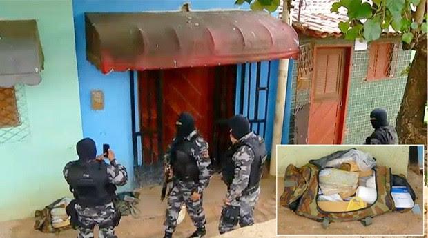 Aproximadamente 20 quilos de drogas foram apreendidos durante as buscas realizadas durante a Operação Mosquito, realizada na Zona Oeste de Natal (Foto: Reprodução/Inter TV Cabugi)