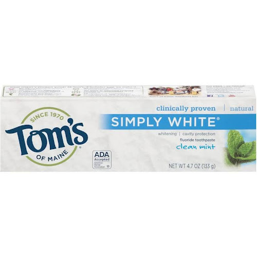 Tom's of Maine Simply White Fluoride Toothpaste, Clean Mint - 4.7 oz tube
