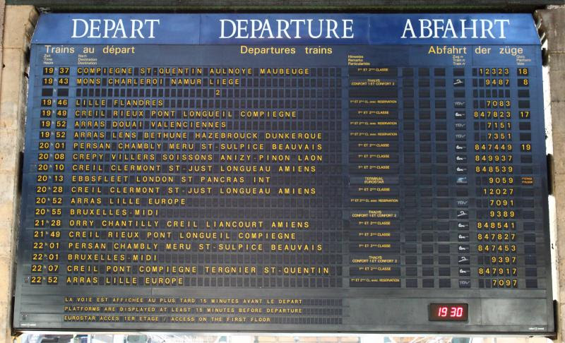 Departures board at Gare du Nord in Paris