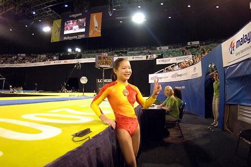 Cheng Fei, after winning Vault
