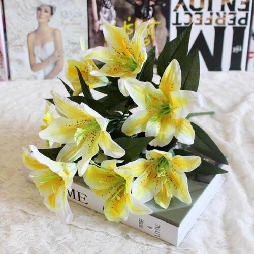 Floral Decor Bunch Of Artificial Lily Flowers Bouquet For Wedding Home Wreath Craft Materials Home Garden