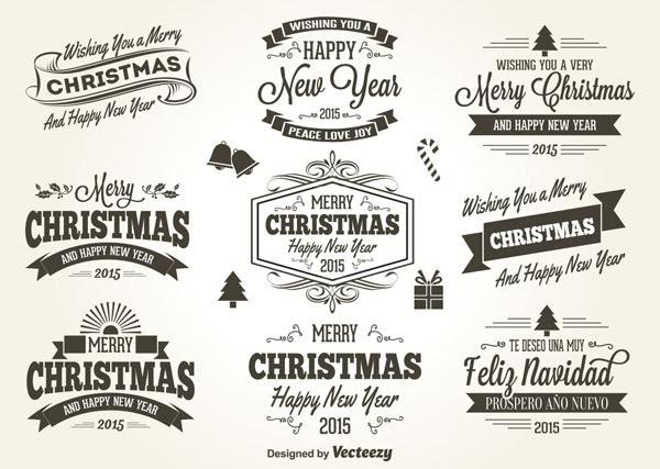フリー素材 クリスマスをイメージしたレトロスタイルのラベルベクター