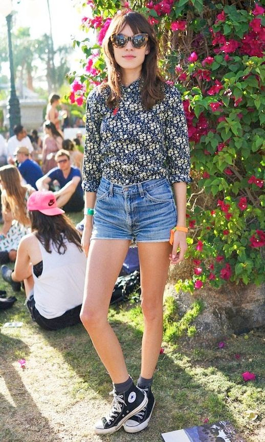12 Le Fashion Blog 40 Of Alexa Chung Best Looks With Denim Shorts Cat Eye Sunglasses Floral Shirt Jean Cut Offs Converse Festival Style Via InStyle UK