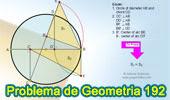 Problema de Geometría 192 (ESL): Circunferencia, Diámetro, Cuerda, Perpendicular, Arco, Area, Equivalencia.