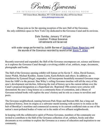 Proteus Gowanus exhibit opening press release