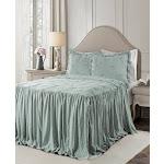 Ravello Pintuck Ruffle Skirt Bedspread Set by Lush Decor Blue, Size: King