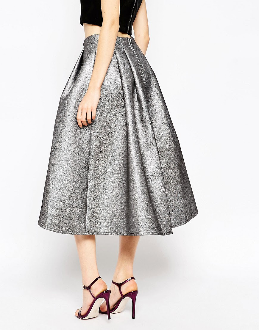 Image 2 of ASOS Full Midi Skirt in Metallic with Dip Back