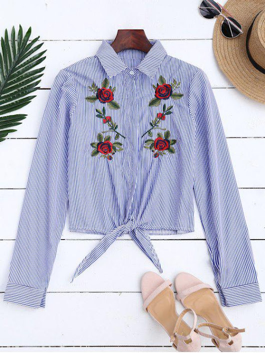 Floral Embroidered Tied Striped Shirt