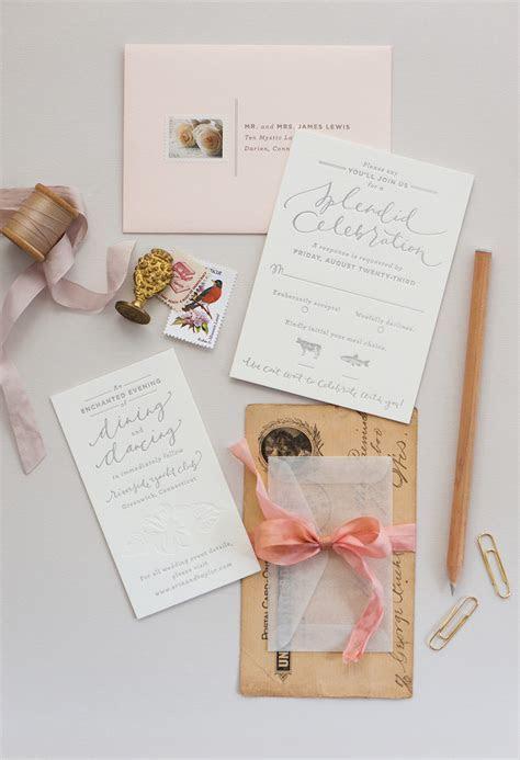 Romantic Blush and Gray Wedding Invitations