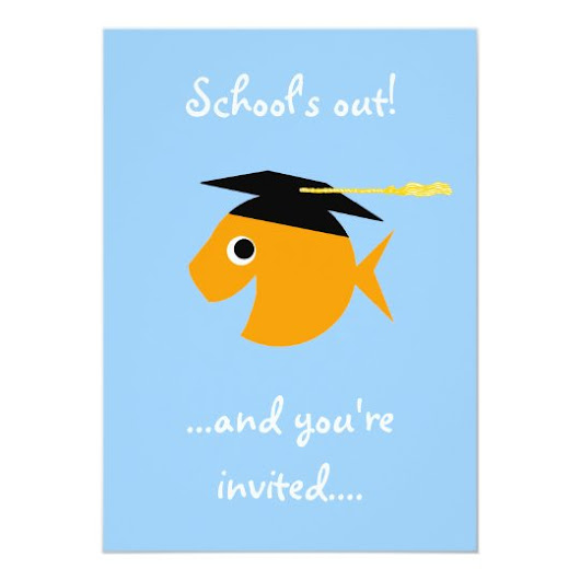 Goldfish in Graduation Cap Poolside Grad Party Card