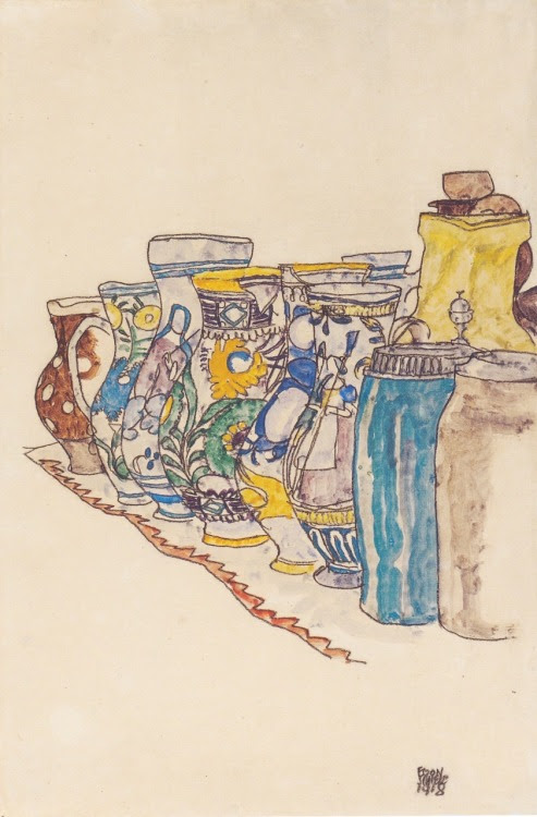 carnetimages-8:  Bemalte Bauernkrüge (Painted Jugs) by Egon Schiele, 1918