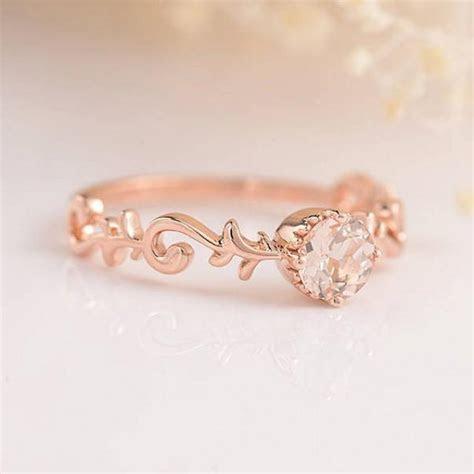 Bridal Set Morganite Engagement Ring Rose Gold Diamond