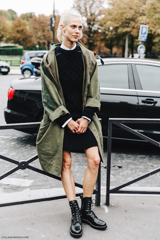 Le Fashion Blog Ways To Wear Green Jacket Coat Fall Winter Street Style Sweaterdress Leather Combat Boots Via Collage Vintage