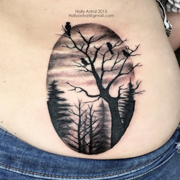 Grey And Black Tree Tattoo On Lower Back