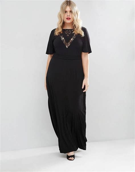 CURVE Maxi Dress with Lace Inserts & Flutter Sleeve