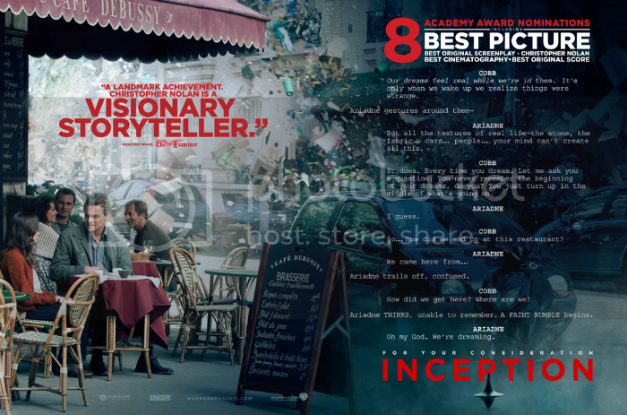 Inception 'For Your Consideration' Ad. - Page 14  Nolan Fans Forums