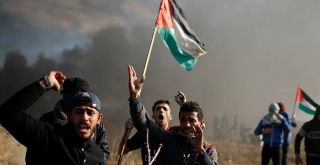Protestas de palestinos cerca del asentamiento judío, cerca de Gaza. REUTERS/Mohammed Salem