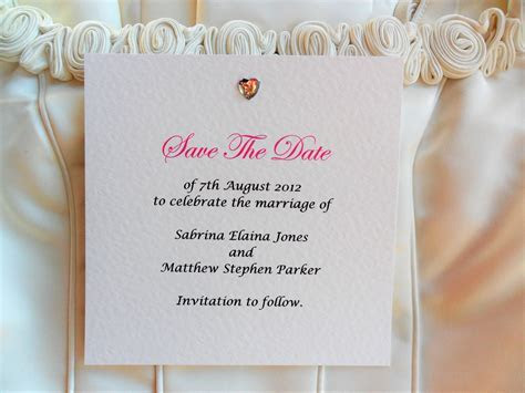 Square Diamante Heart Save The Date Cards   Wedding Save