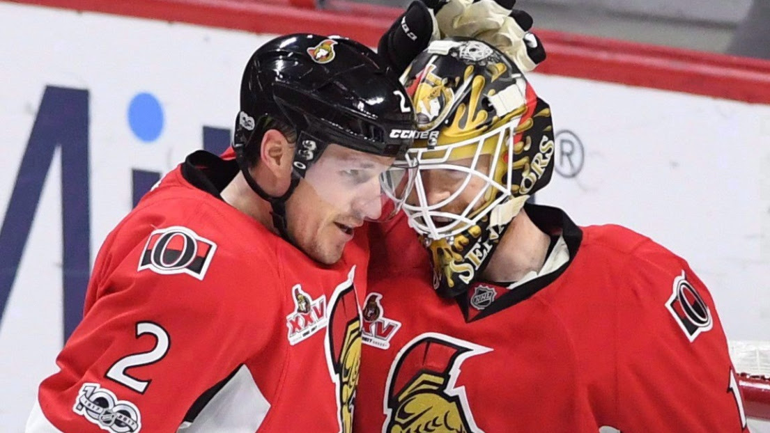 Dion Phaneuf et Mike Condon