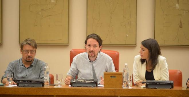 Rueda de prensa de Unidos Podemos tras la reunión del lunes con representantes de Podemos, IU, Catalunya en Comú y En Marea sobre el referéndum. / Twitter @ahorapodemos