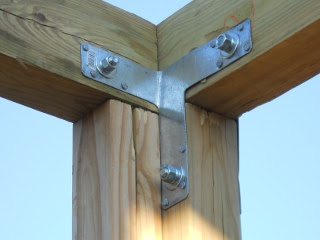 Inside Corner of Porch Cross Beams with T-Strap