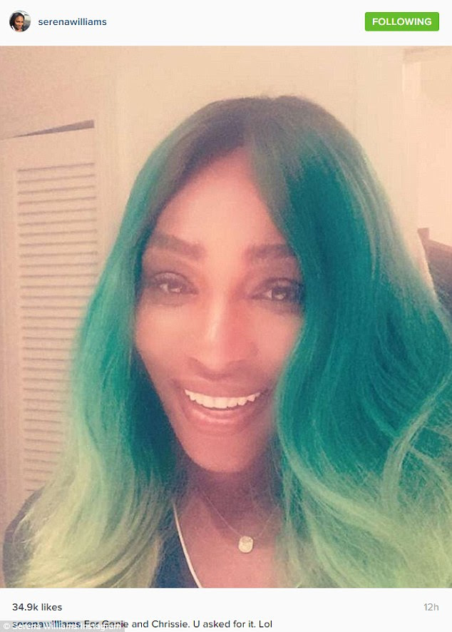 Game face! Serena Williams appears to be in a relaxed and carefree state of mind as she posted a playful selfie to Instagram on Wednesday