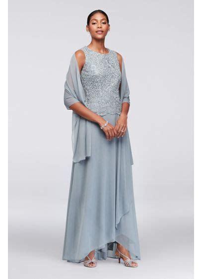 Scalloped Lace and Mesh Dress with Shawl   David's Bridal